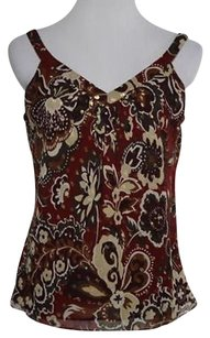 Ann Taylor Womens Red Beige Shirt Petite 8p Sleeveless Silk Top Multi-Color