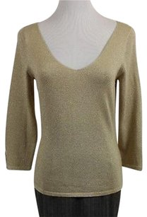 Ann Taylor Womens Metallic 34 Sleeve Silk Sweater