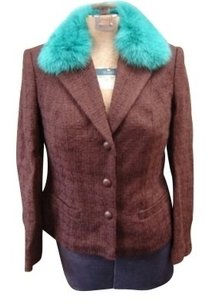 Anna Molinari Coat Stylish BRown Waffel with Teal Fur Collar Blazer