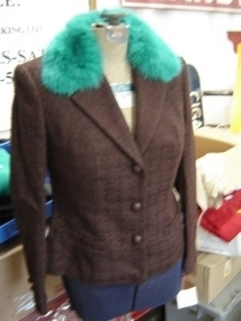 Anna Molinari Stylish BRown Waffel with Teal Fur Collar Blazer