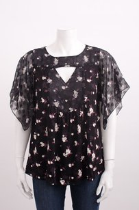 Anna Sui Lilac Multi Flutter Floral Raglan Sleeve Cut Out Shirt Top Black