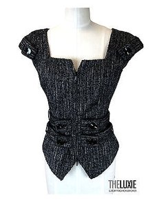 Anne Fontaine Anne Fontaine 0 Tweed Zipper Jacket Corset Piece