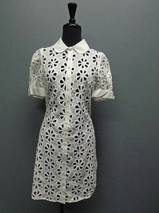 Anne Fontaine short dress White Short Sleeved Floral Cutout Button Down 2246a on Tradesy
