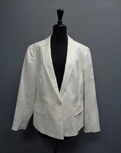 Anne Klein Anne Klein Sleek Ivory Blazer W Faux Flap Pockets 16w Cotton Blend Sma6541