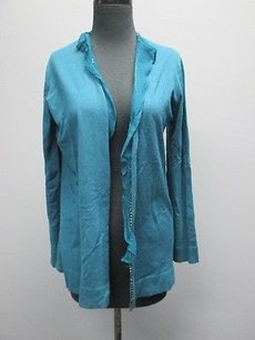 Anne Klein York Silk Long Sleeve Solid Open Front Cardigan 3193 Sweater