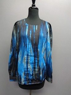 Anne Klein Pleated Top Blue And Black