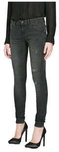 Anoname Straight Leg Leggings Cropped Capri Low Rise Skinny Jeans-Distressed