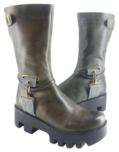 Antelope 75% Off Retail Wine Or River Mid Calf Leather Platform Boots
