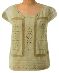 Anthropologie Boxy Breezy Mesh Inserts Light Green Cool Cotton Top NWT Green