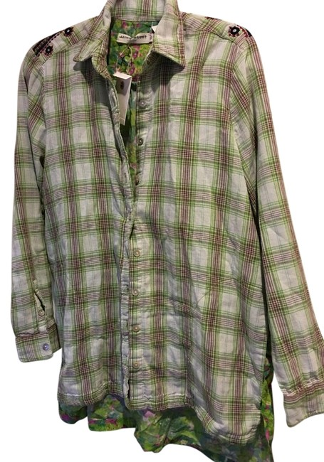 Anthropologie Green Pink Womens Medium 6 8 Nwt $95 Scarf Back Blouse Button Down Shirt - 46% Off Retail new