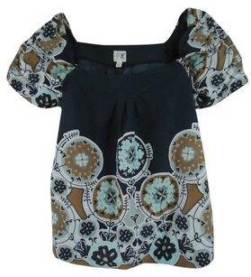 Anthropologie Edme & Esyllte Floral Cotton Top Blue