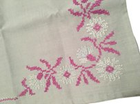 Anthropologie Embroidered Runner Table Cloth Linen