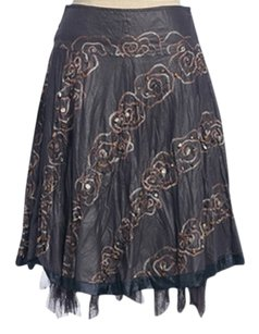 Anthropologie Floral Deco Art Sea Skirt GRAY