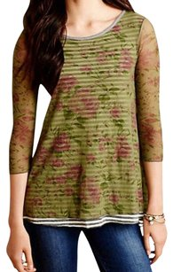 Anthropologie Sheer Sleeves T Shirt Green Print