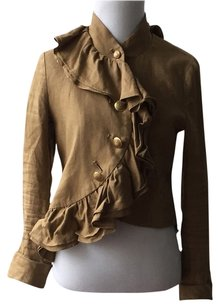 Anthropologie Linen Summer Spring Ruffle Gold Buttons Tan Jacket