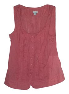 Anthropologie Odille Buttons Chutes Pleated Top Coral