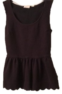 Anthropologie Sleeveless Scalloped Shirt Xs Top Blac
