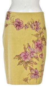 Anthropologie Womens Floral Straight Knee Length Wtw Skirt Yellow