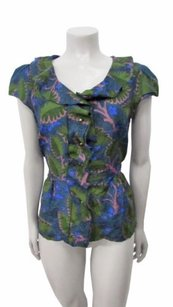 Anthropologie Vanessa Virginia Loosened Ruffle Green Blue Top Multi-Color