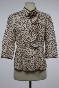Anthropologie Girls From Savoy Womens Printed Cotton 34 Sleeve Shirt Top White