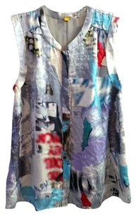 Anthropologie Watercolor Silk Flowy Top Multi