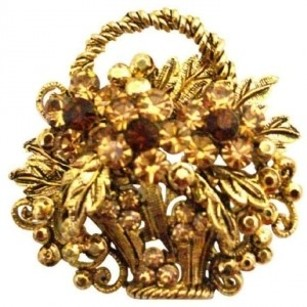 Antique Gold Basket Smoked Topaz & Colorado Crystals Jacket Brooch Pin