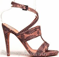 Aperlaï Mocha Snakeskin Strappy Leather Open Toe Heel Eu Beige Pumps