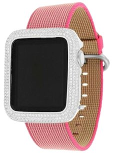 Apple Apple Watch 38mm Stainless Steel Case Pink Nylon Band 1st Generation Ios Touch