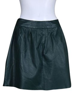 Aqua Womens Leather Above Knee Skirt Green