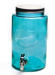 Aqua Blue Mason Jar Drink Dispenser 1.5 Gallons
