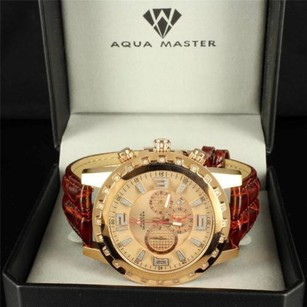 Aqua Master Aqua Master Watch 14k Rose Gold Finish Gear Style 55mm Iced Red Leather Band