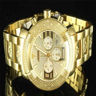 Aqua Master Iced Out Mens Yellow Gold Finish Jojino Rodeo Aqua Master Full Metal 3dial Watch