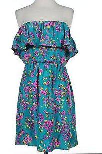 Aqua Womens Teal Floral Dress