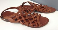 Aquatalia by Marvin K. Leather Braided Ankle Strap W Buckle Casual B3001 Brown Sandals