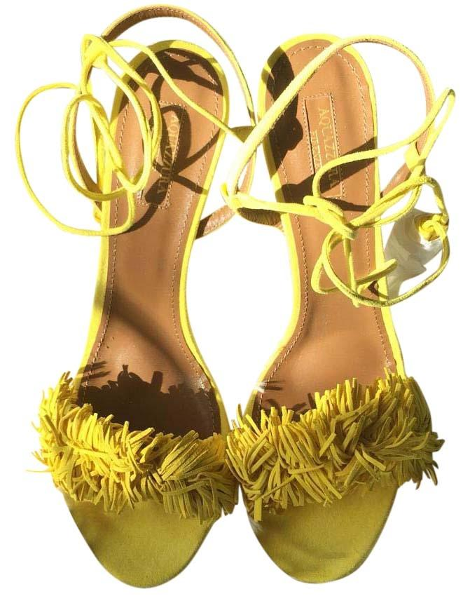 Aquazzura Yellow Wild Thing Suede Tulip Sz42 Sandals Size US 12 Regular (M, B)
