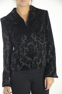 Areli Collection Areli Black Velvet Fleur De Lis Jacquard Button Formal Blazer Jacket