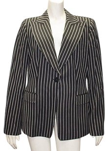 Armani Collezioni Armani Collezioni Black Wool Blend Striped Blazer Jacket Coat Hs1308