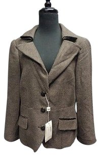 Armani Collezioni Armani Collezioni Button Lined Black Tan Tweed Wool Blazer Sma9507