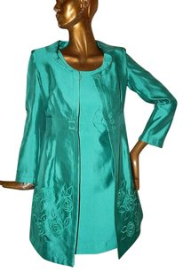 Armani Collezioni Armani Collezioni Green Silk Blend Embroidered Dress