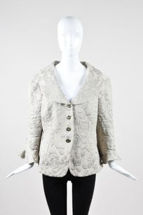 Armani Collezioni Armani Collezioni Gray Black Wool Blend Knit Floral Blazer Jacket