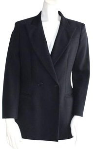 Armani Collezioni Wool Double Breasted Coat Hs1936 Black Jacket