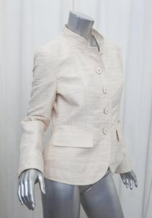Armani Collezioni Womens Blush Textured Blazer Coat 8m Cream Jacket