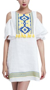 ASOS short dress White Embroidered Tassels Cold Boho on Tradesy