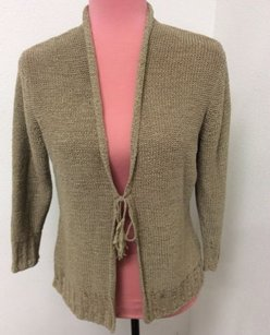 August Silk Knits Wrap Biege Neautral Classic Tie Front Sweater