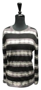 Autumn Cashmere Black Long Sleeves Striped Tie Dye Casual 2297 A Sweater