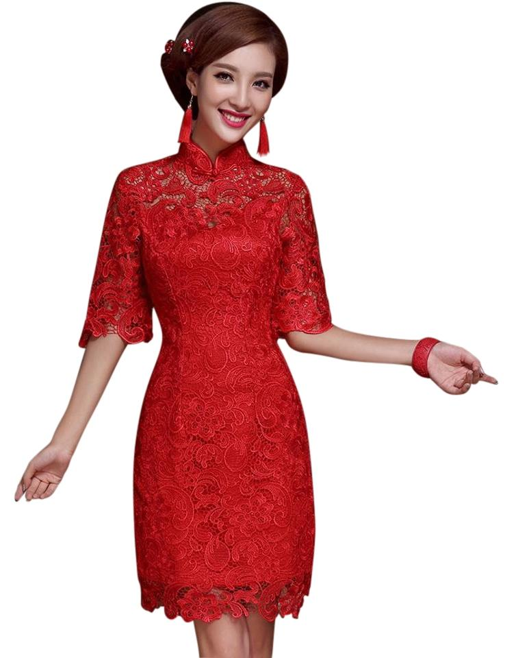 Avatar Imports Lace Wedding Chinese Traditional Form Fitting Dress ...  sc 1 st  Tradesy & Avatar Imports Red Lace Traditional Chinese Knee Length Formal Dress ...