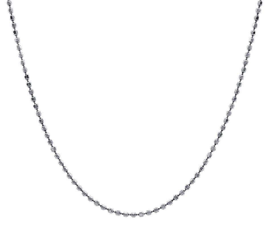 Avital Co Jewelry 14k White Gold Rosary Beads Chain 32 Inches