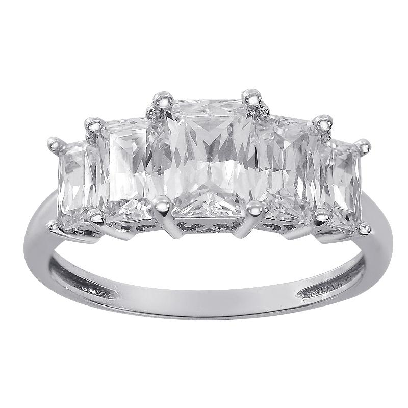 preowned wedding rings avital u0026 co jewelry 300 carat five stones radiant cut cz - Preowned Wedding Rings