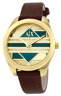 A|X Armani Exchange AX5524 ARMANI EXCHANGE Gold and Green Dial Brown Leather Ladies Watch