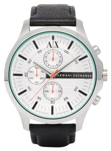 A|X Armani Exchange Chronograph Silver Dial Black Leather Men's Watch ax2165
